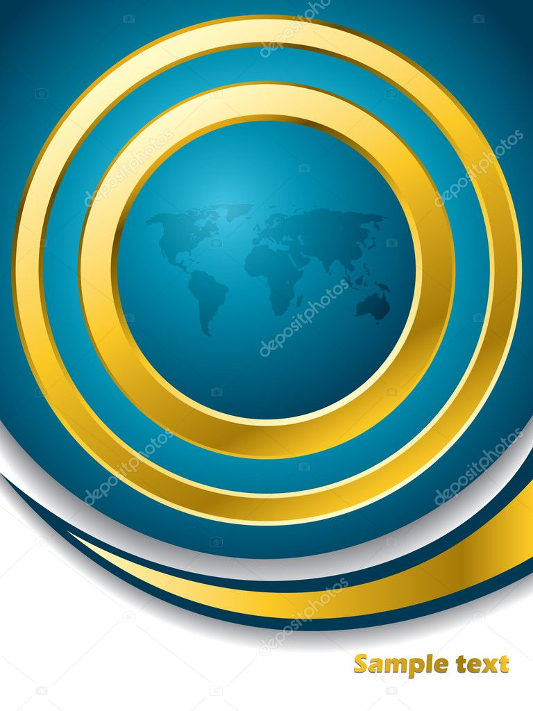 Blue map brochure with gold rings — Stock Vector #2909207