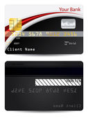 Red with black bank card — Stock Vector