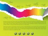 Modello di sito web strappati con colori arcobaleno — Vettoriale Stock