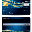 Ribbons on blue credit card — Stock Vector