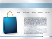 Website template with paperbag — Stock Vector