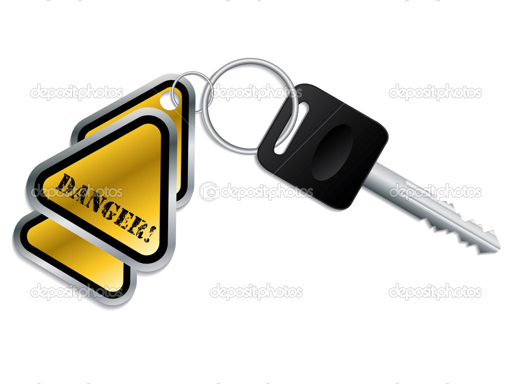 Keyholder with danger text chained to key — Stock Vector #3393058