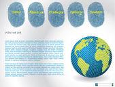 шаблон сайта с отпечатками пальцев — Cтоковый вектор