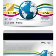 Credit card design with waves and globe — Stock Vector