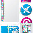 Tic tac toe company set — Stock Vector