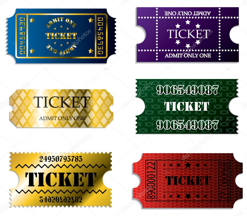 Various ticket set of six — Stock Vector #3530687