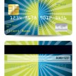 Halftone with burst credit card - Stock Vector