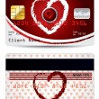 Hearts credit card design — Stock Vector