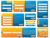 Blue and orange website form set — Stock Vector