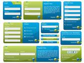 Blauwe en groene webformulier — Stockvector