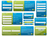 Blue and green web form — Stockvector