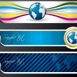 World map and globe banners — Image vectorielle