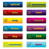 Web buttons with leds — Stock Vector