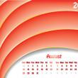 August 2011 wave calendar — Stock Vector