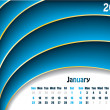 January 2011 wave calendar — Stock Vector