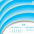 July 2011 wave calendar — Stock Vector