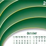 October 2011 wave calendar — Stock Vector