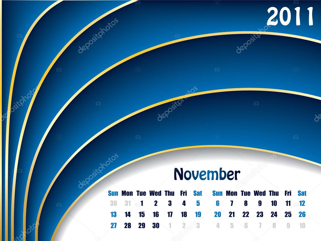 November 2011 wave design calendar — Stock Vector #3784306