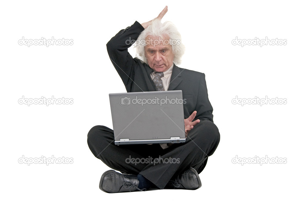 Older man working on laptop — Stock Photo #2831823