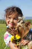 Child and dog — Stock Photo