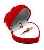 赤いボックスでの 2 つの結婚指輪 — ストック写真