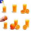 Orange and juice in glass — Stock Photo