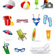 Icons set for rest on a sun sea and beach — Stock Vector