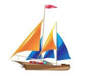 Schiff mit segel — Stockvektor