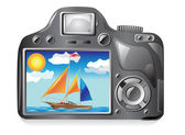 Photo camera and image photography — Stock Vector