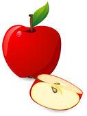 赤いリンゴとスライス — ストックベクタ