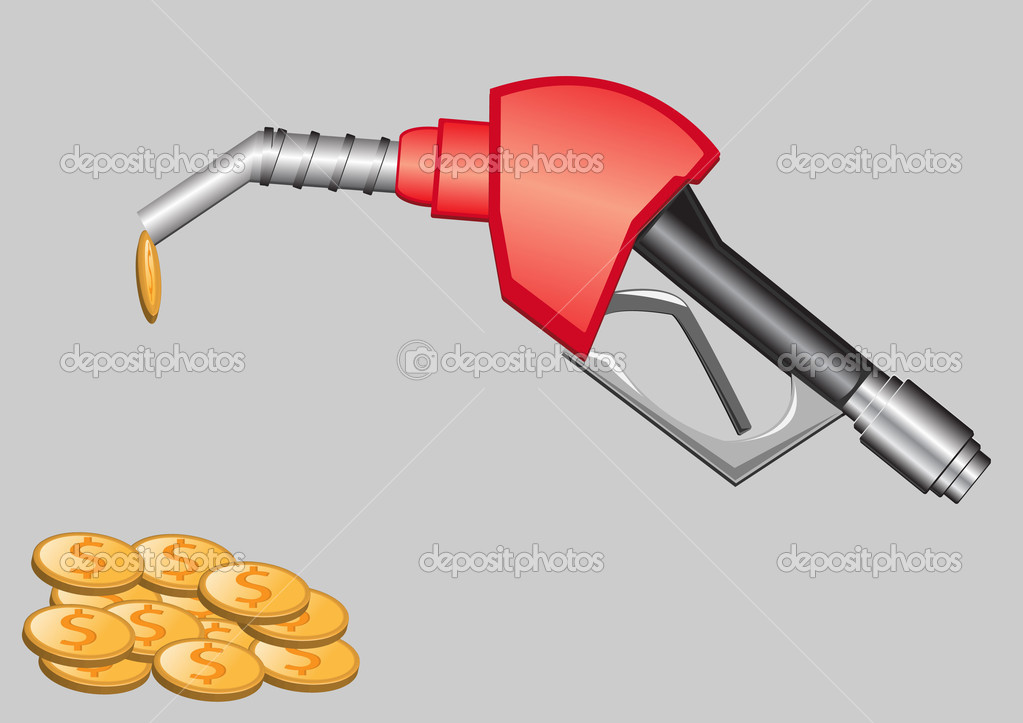 Gas pump nozzle and money vector illustration — Stock Vector #3283755