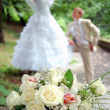 Wedding bouquet on a foreground — Stock Photo