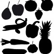 Fruits and vegetables are black silhouettes — Stock Photo