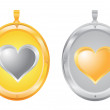Gold and silver pendants - Stock Photo