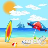 Instellen van strand op zee — Stockfoto