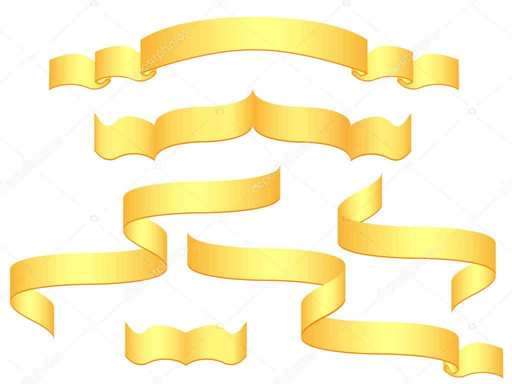 Gold banners isolated on white background illustration — Stock Photo #3442600