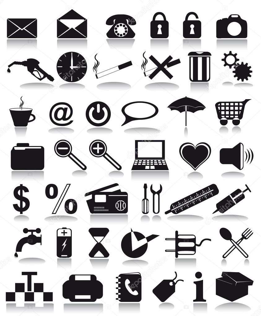Black icons vector illustration isolated on white background — Stock Vector #3517294