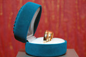 Weddings rings in a blue box — Stock Photo