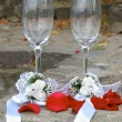 Weddings glasses for champagne — Stock Photo