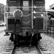 Stock Photo: Rear view of train caboose
