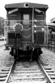 Rear view of a train caboose — Stock Photo