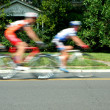 Stock Photo: Blurred motion bicycle race