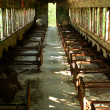 Old abandoned passenger train car — Foto de Stock