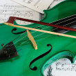 Green violin — Stock Photo