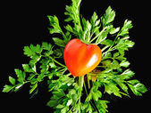 Sweet pepper in the shape of the heart — Stock Photo