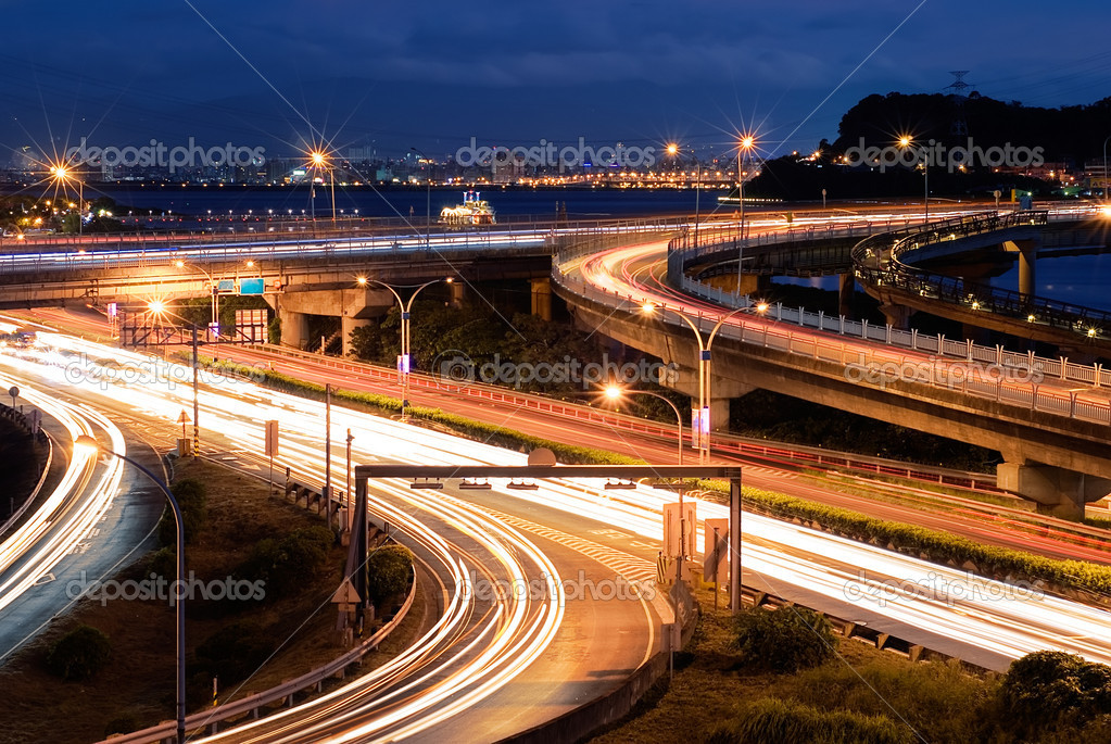 City traffic and light of cars in the road. — Stock Photo #2699693