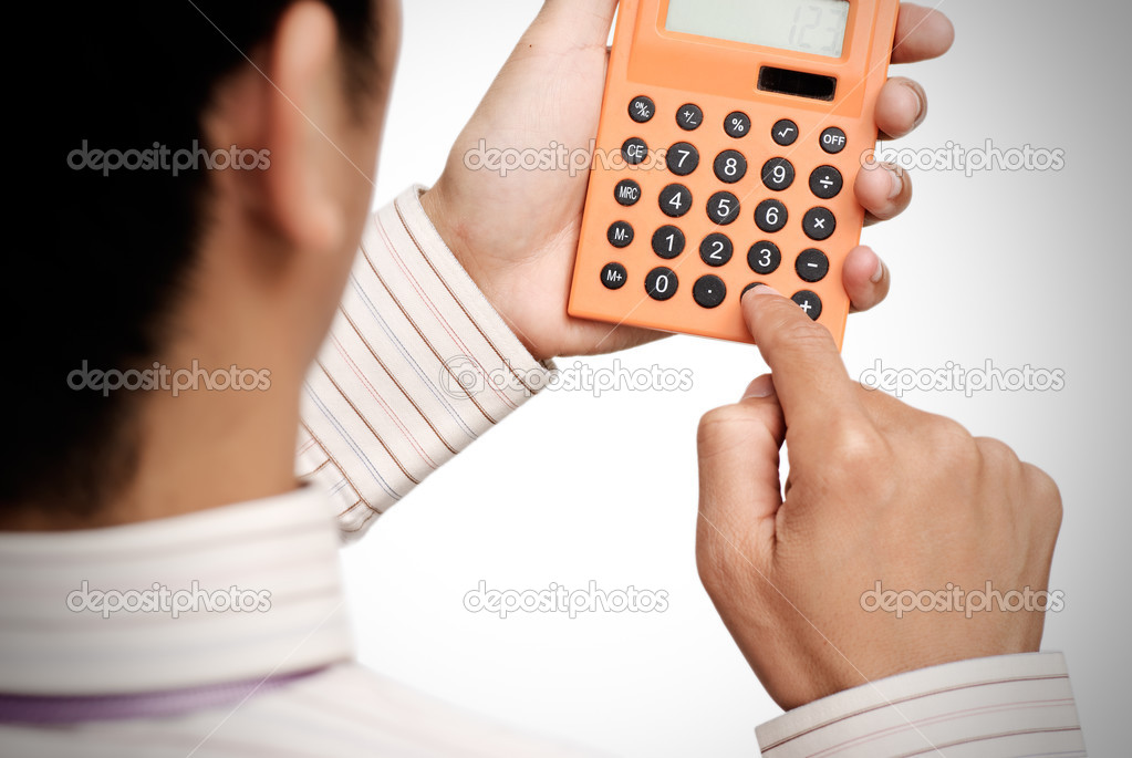 Business man use calculating machine on white background. — Stock Photo #2713998