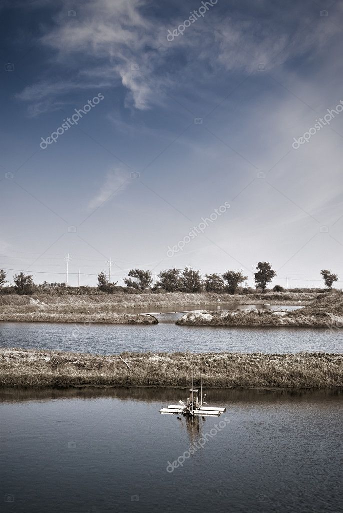 Fish farm with water wheel in small town. — Stock Photo #2838322