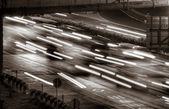 Traffic of cars and lights — Stock Photo