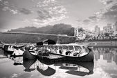 Landscape of river and boats — ストック写真